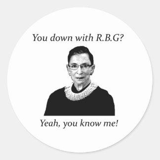 ¿Usted abajo con RBG? Pegatina Redonda