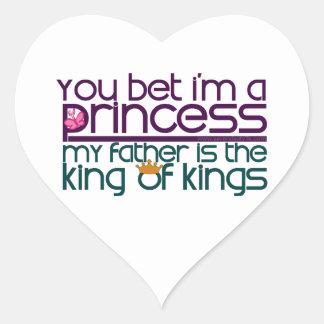 Usted apostó que soy princesa pegatina de corazon personalizadas