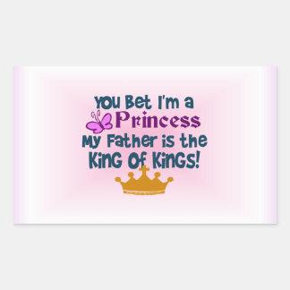 Usted apostó que soy princesa rectangular pegatina