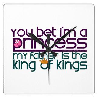 Usted apostó que soy princesa relojes de pared