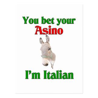 Usted apuesta su Asino que soy italiano Tarjeta Postal