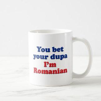 Usted apuesta su dupa que soy rumano taza básica blanca
