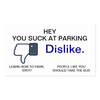Usted chupa en el estacionamiento, tarjetas de vis tarjeta de visita