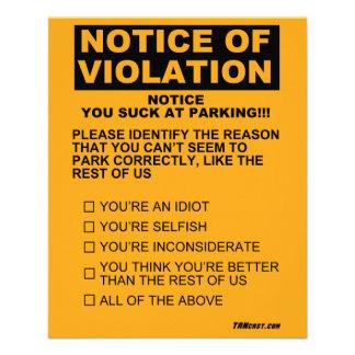 """Usted chupa en la multa de aparcamiento folleto 4.5"""" x 5.6"""""""