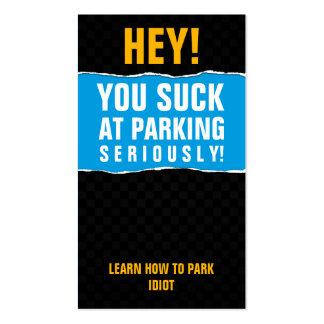 Usted chupa en la tarjeta del estacionamiento tarjetas de visita