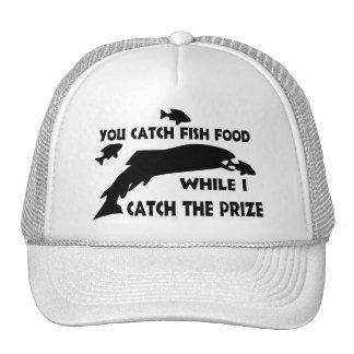 Usted coge la comida de pescados gorros bordados