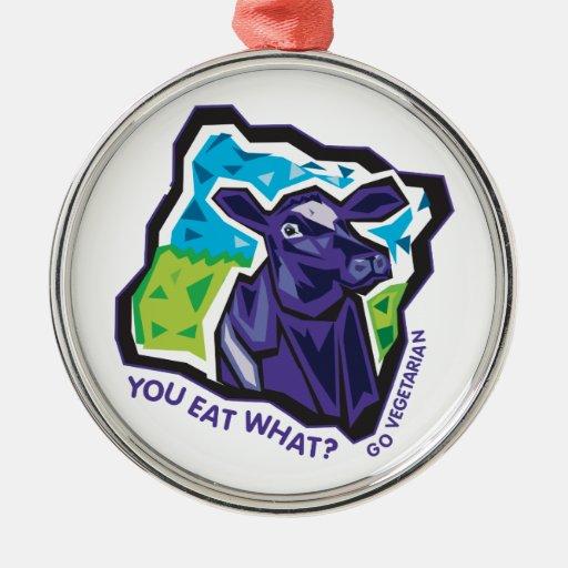¿Usted come lo que? Vaca Adorno Redondo Plateado