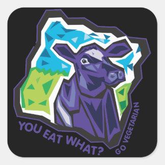 ¿Usted come lo que? Vaca Pegatina Cuadrada