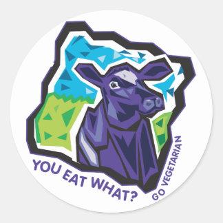 ¿Usted come lo que? Vaca Pegatina Redonda