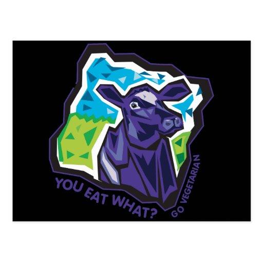 ¿Usted come lo que? Vaca Tarjeta Postal