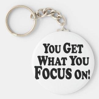 ¡Usted consigue lo que usted se enfoca encendido!  Llaveros Personalizados