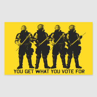 Usted consigue lo que usted vota por sistema del rectangular pegatinas