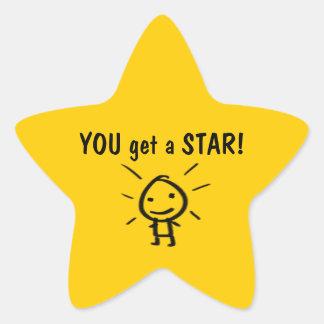 ¡USTED consigue una ESTRELLA! Pegatina En Forma De Estrella