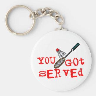 Usted consiguió bádminton servido llavero personalizado