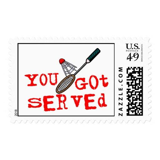 Usted consiguió bádminton servido sellos