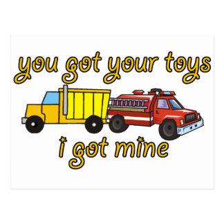 Usted consiguió sus juguetes, yo consiguió los tarjetas postales
