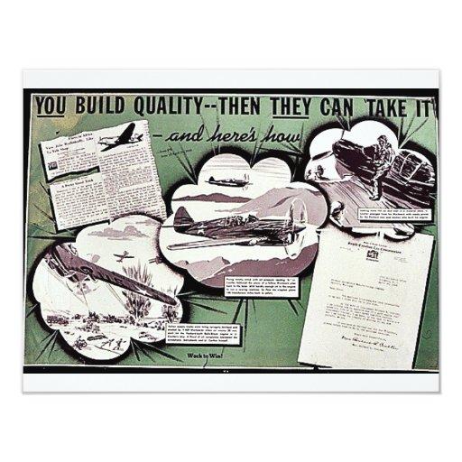 Usted construye calidad, después pueden tomarla invitación 10,8 x 13,9 cm