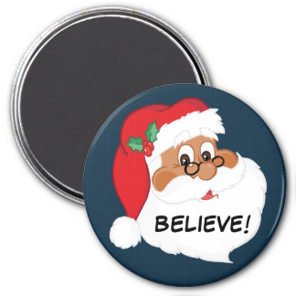 ¿Usted cree en Papá Noel negro? Imán Redondo 7 Cm