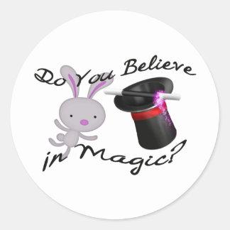 Usted cree en sombrero de copa y conejo mágicos pegatina redonda