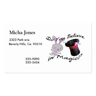 Usted cree en sombrero de copa y conejo mágicos tarjetas de visita