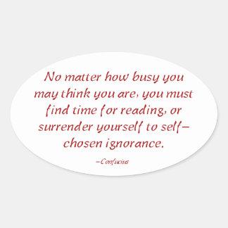 Usted debe encontrar la hora para leer calcomania óval