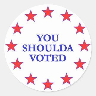 Usted debe haber votado pegatina redonda