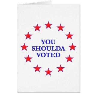 Usted debe haber votado tarjeta pequeña