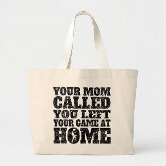 Usted dejó su fútbol del juego en casa bolsa tela grande