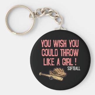 ¡Usted desea que usted podría lanzar como un chica Llavero Redondo Tipo Pin
