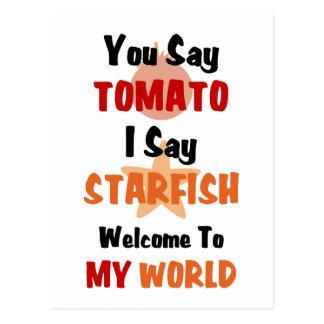 Usted dice el tomate que digo estrellas de mar tarjetas postales