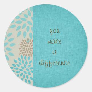 Usted diferencia pegatina redonda