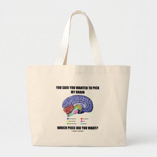 Usted dijo que usted quiso escoger mi cerebro (la  bolsa tela grande