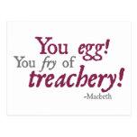 ¡Usted Egg!  ¡Usted fritada de la traición! Tarjetas Postales