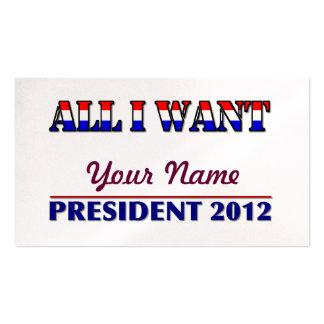 Usted elige al presidente - señal de 2012 eleccion tarjetas de visita