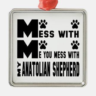 Usted ensucia con mi pastor de Anatolia Adorno Navideño Cuadrado De Metal