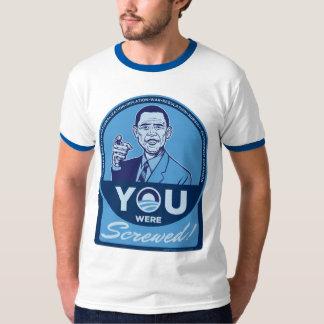 Usted era camiseta atornillada de Obama Playera