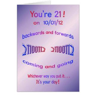 ¡Usted es 21! en 10/01/12 cumpleaños del Tarjeta De Felicitación