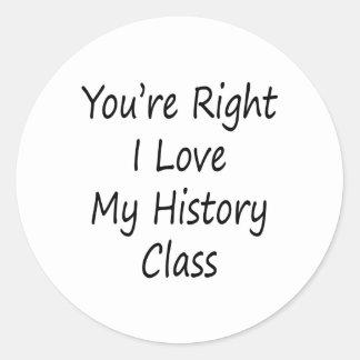 Usted es amor correcto de I mi clase de historia Etiquetas Redondas