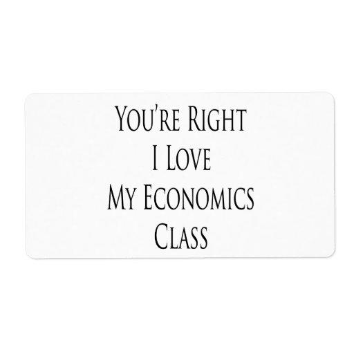 Usted es amor correcto de I mi clase de la economí Etiqueta De Envío