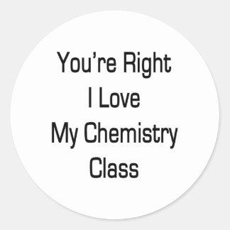 Usted es amor correcto de I mi clase de química Pegatinas Redondas