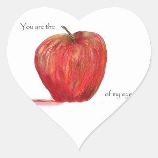 Usted es Apple de mi ojo Pegatina En Forma De Corazón