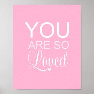 Usted es así que decoración rosada amada del arte posters