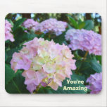 ¡Usted es asombroso! Hydrangeas rosados de los reg Alfombrillas De Ratón