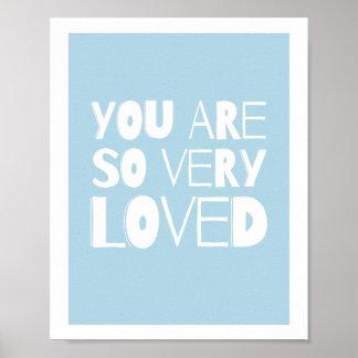 Usted es azul moderno dulce amado de la decoración póster