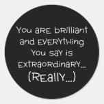Usted es brillante y especial pegatinas redondas