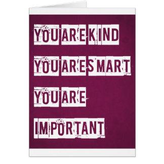 Usted es bueno, usted es elegante, usted es import tarjeta de felicitación