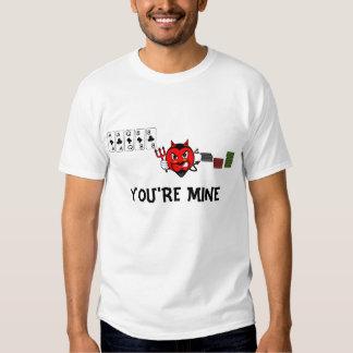 Usted es camiseta del diablo del póker de la mina playera