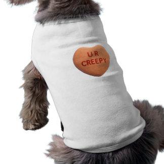 Usted es corazón anaranjado espeluznante del caram camisetas mascota