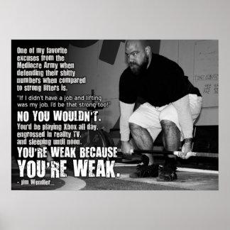 Usted es débil porque usted es débil poster