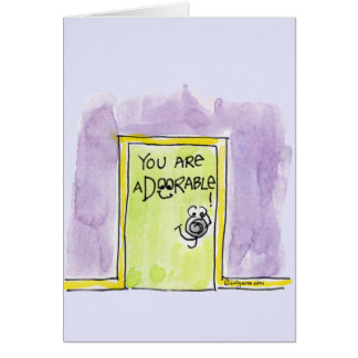 Usted es dibujo animado aDOORable Tarjeta De Felicitación
